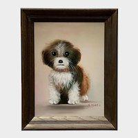 B Harris, Adorable Terrier Puppy Dog Portrait Oil Painting
