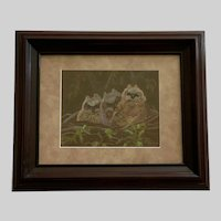 Nenia Levering, Baby Hoot Owls In Nest Pastel Painting