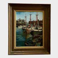 E Friedrich, 1964 Boston Harbor Fishing Pier Coastal Wharf Oil Painting