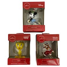 Vintage Hallmark Trio Animation Ornaments Rudolph, Tweety Bird and Minnie Mouse