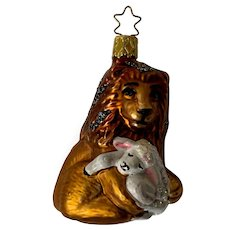 Lion Lamb Christmas Ornament Inge Glas Old World Blown Glass Germany