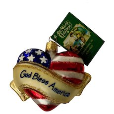 God Bless America Blown Glass Christmas Ornament Old World