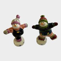 Happy Ice Skating Snowmen Salt and Pepper Shakers Ugly Christmas Sweater