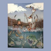 Amusing Modern Art Acrylic Painting, Animal Characters Fishing