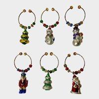 Vintage Wine Glass or Beer Bottle Charms Christmas