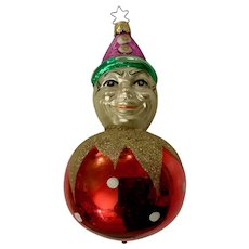 Clown Ball Christmas Ornament Inge Glas Old World Blown Glass Germany