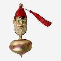 Vintage Larry Fraga Germany Hand Blown Glass Christmas Ornament Elf Head