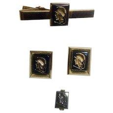 Roman Centurion Soldier Cufflinks Tie Clip and Swank Tie Tac Anson Hematite Intaglio Vintage Gold Toned