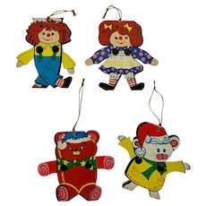 Vintage Raggedy Ann and Andy and Critters Christmas Doll Ornaments