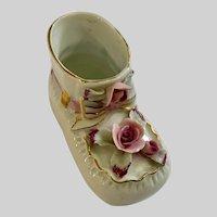 Mid-Century Baby Bootie Porcelain Baby Shoe Planter Vase Japan