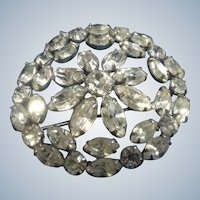Sterling Silver Rhinestone Encrusted Brooch Gorgeous Vintage Clear Sparkle Jewelry