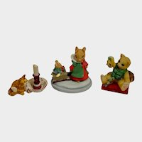 Avon Forest Friends Calico Fishing Kittens and Peter Fagan Cat Figurines Group