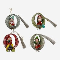 Vintage Chenille Pipe Cleaner Elf Christmas Tree Ornaments 4 Pieces Japan 1950s