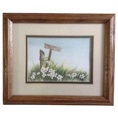 Lisa McDonald, Watercolor Painting Wildflowers by a Rose Park School Sign, Works on Paper Signed by Artist