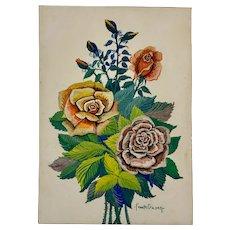 Fannye Golden Roses Still Life Oil Painting New York Artist