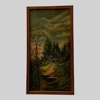 V M Garter, Rural Home in the Forest Oil Painting