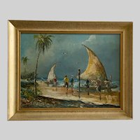 Anna Dubsky, Fishing Boats at a Beach Oil Painting Australian Artist