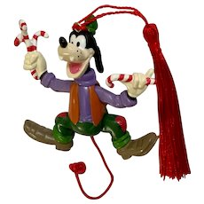 Goofy Articulating Pull Holding Candy Canes Christmas Ornament Disney