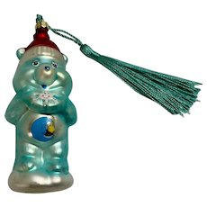 Christmas Glass Bedtime Care Bears Crescent Moon Aquamarine Ornament