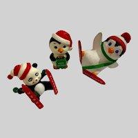 Miniature Penguins & Panda Bear Skier Figurines Hong Kong