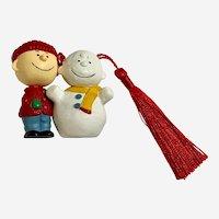 Hallmark Ornament The Peanuts Gang #1 Series 1993 Charlie Brown & Snowman