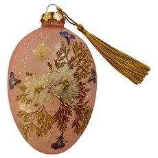 Vintage Blown Glass Christmas Ornament With Dried Flowers