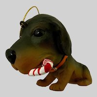 Kurt Adler The Dog Christmas Ornament Dachshund Puppy Holding Candy Cane