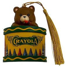 Crayola Crayons Teddy Bear Christmas Tree Ornament 1992