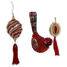 1970s Beaded Christmas Ornaments Bird & Two Balls