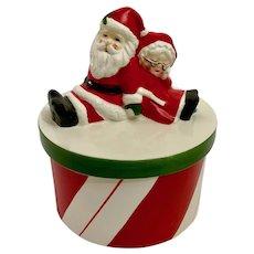 Mid-Century Candy Cane Mr. & Mrs. Santa Claus Round Ceramic Box