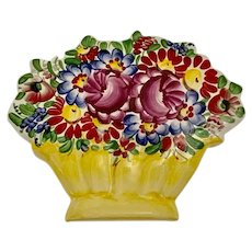 Lovely Bouquet of Flowers in Vase Ceramic Hand Painted Wall Plaque