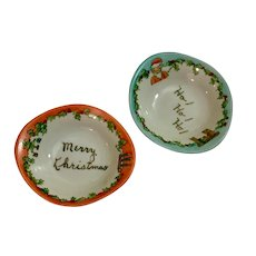 Vintage Little Merry Christmas Hand Painted Santa Bowls Nut Dishes