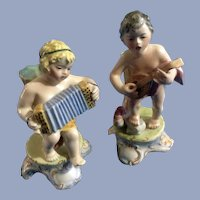Italian Footed Bud Vase Boys (1920-1940) Porcelain Figurines