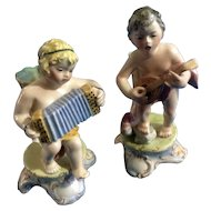Vintage Italy Footed Bud Vase Boys Playing the Mandolin & Accordion Italian Figurines (1920-1940) Purchased at Stewart's Inc. Louisville Department Store