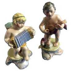 Italian Figurines Vintage Footed Bud Vase Boys Playing the Mandolin & Accordion Italy (1920-1940) Purchased at Stewart's Inc. Louisville Department Store