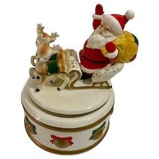 Lefton Santa Claus Sleigh with Reindeer Round Trinket Ceramic Box Japan