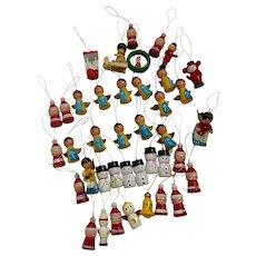 Vintage Wooden Hand Painted Christmas Ornaments Santa Snowmen Angels 40 Pieces