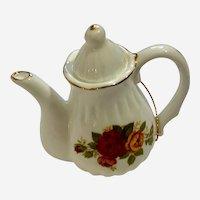 Christmas Bone China Rose Teapot Ornament