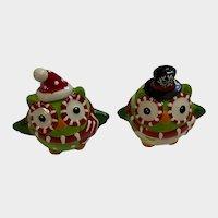 Anthropomorphic Santa Owls Birds Christmas Salt & Pepper Shakers