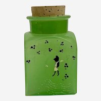 Vintage Green Glass Bottle with Fairy Girl Silhouette & Cork