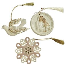 Cream White Christmas Ornaments Gold Tassels Dove Mary Jesus & Snowflake Group