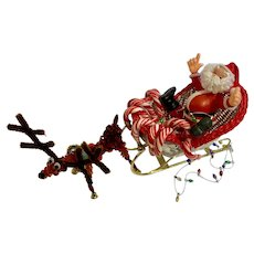 1970s Santa Sleigh and Reindeer Christmas Figures Candy Cane Goody Holder Group