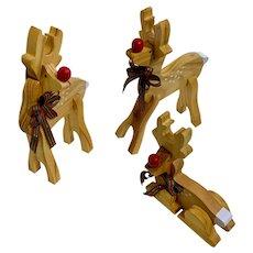 Three Wood Hand Painted Christmas Reindeer Puzzle Figures