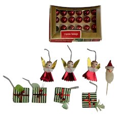 Mid-Century Christmas Miniature Shiny Brite Ornaments, Angel & Packages Group