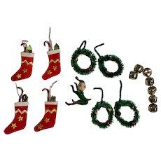 Mid-Century Christmas Miniature Elf, Wreaths & Stockings Made in Japan