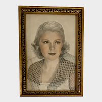 1940s Vintage Gold and Black Picture Frame With Original Photo