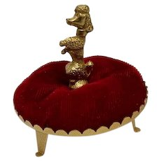 Gold-tone Poodle Dog on Red Velvet Pillow Bed Ring Holder Pin Cushion
