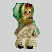 Josef Originals April Girl Umbrella Raincoat Ceramic Figurine California 1953