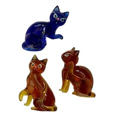 Vintage Art Glass Cats Hand Made & Painted Figurines