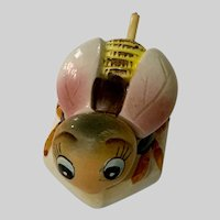Vintage PY Miyao Bumble Bee Honey Jam Condiment Jar With Celluloid Spoon
